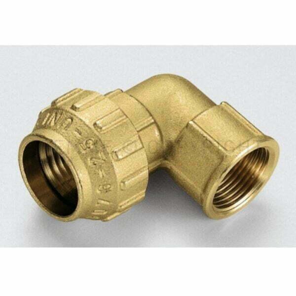 """Racord cot cu inel din alama cu compresie pentru tub PE/PEHD/PEX O 32- """" FI – 3400162"""